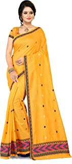 S Kiran's Women's Plain Weave Cotton Saree With Blouse Piece (ADDn7Yellow_Yellow)