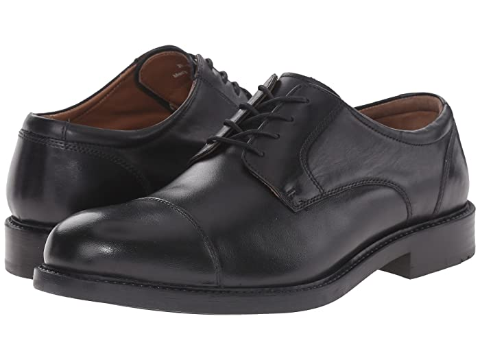 Johnston and Murphy  Tabor Dress Cap Toe Oxford (Black Calfskin) Mens Lace Up Cap Toe Shoes