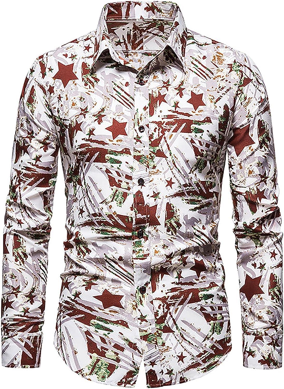 Men's Floral Slim Fit Long Sleeve Cotton Casual Button Down Dress Shirt FashionFloral Printed Hawaiian Shirt