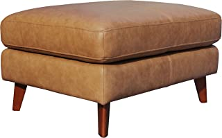 Rivet Sloane Modern Leather Ottoman with Tapered Legs, 31.9