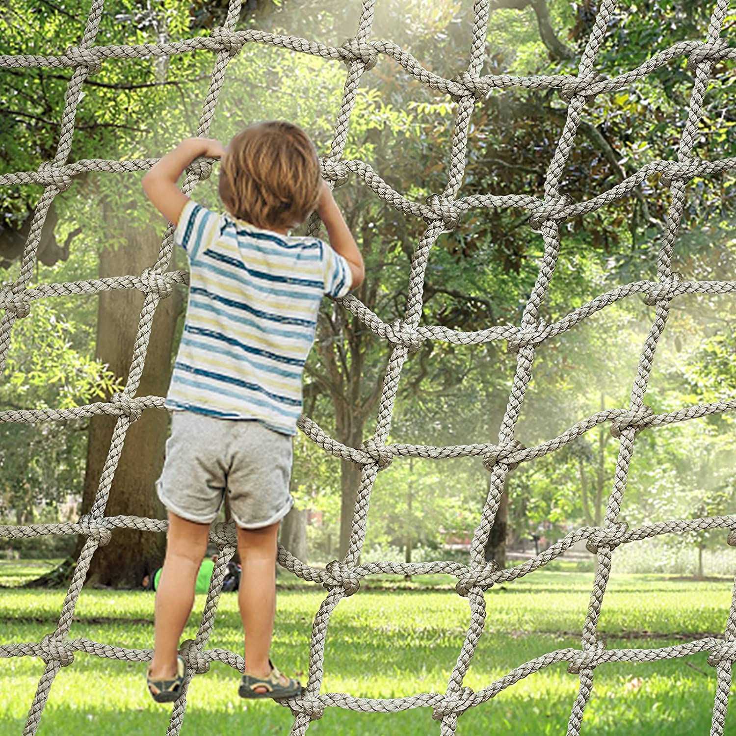 SEAAN Playground Net Climbing Net, 3.3'X9.9' Safety Nets Cargo Rope Heavy Duty Netting Treehouse Protection, Rope Ladder Swing Nylon Rope Balcony Banister Protection Fence Decor Mesh for Sports Bar