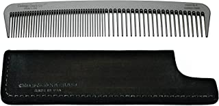 Chicago Comb Model 6 Carbon Fiber Comb + Dublin Black Horween leather sheath, Made in USA, ultimate styling comb, for men & women, ultra smooth strong & light, anti-static, American-made leather case