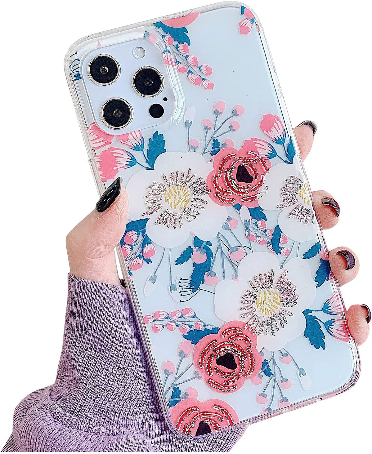 ooooops Compatible with iPhone 12 Pro Max Case for Women Girls, Blue Leaves Glitter Red Pink White Floral, Slim Soft Border Hard Panel Protective Phone Case Cover for iPhone 12ProMax 6.7 (Rose Flower)