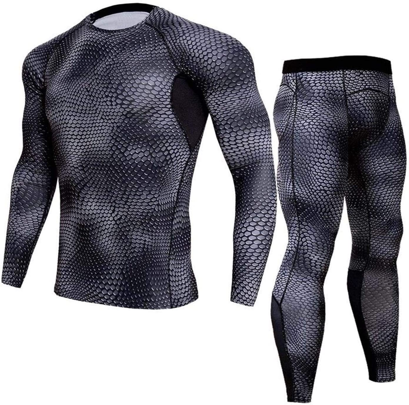 QWERBAM Winter Thermal Underwear Men Underwear Sets Compression Fleece Sweat Quick Drying Thermo Underwear Men Clothing (Color : 1, Size : Small)