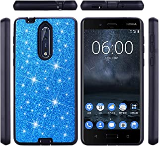 Taoguining Electronics For Nokia 8 Luxury Glitter Sparkle Bling Case Hybrid PC Silicone Faux Leather Dual Layer Armor Protective Phone Cover Glitter blue Nokia 8