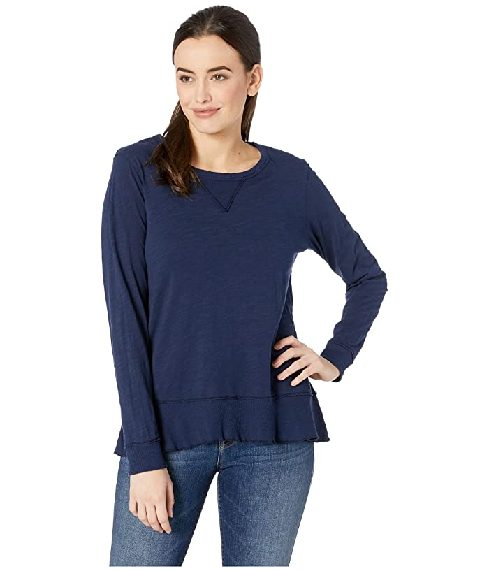 Mod-o-doc Slub Jersey Long Sleeve Sweatshirt Tee with Flounce Hem (True Navy) Women