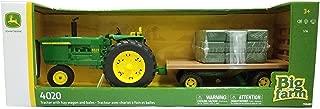 John Deere 1:16 Big Farm 4020 Tractor with Hay Wagon & Bales