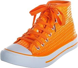 Brandsseller - Sneaker da donna con paillettes, a mezza altezza