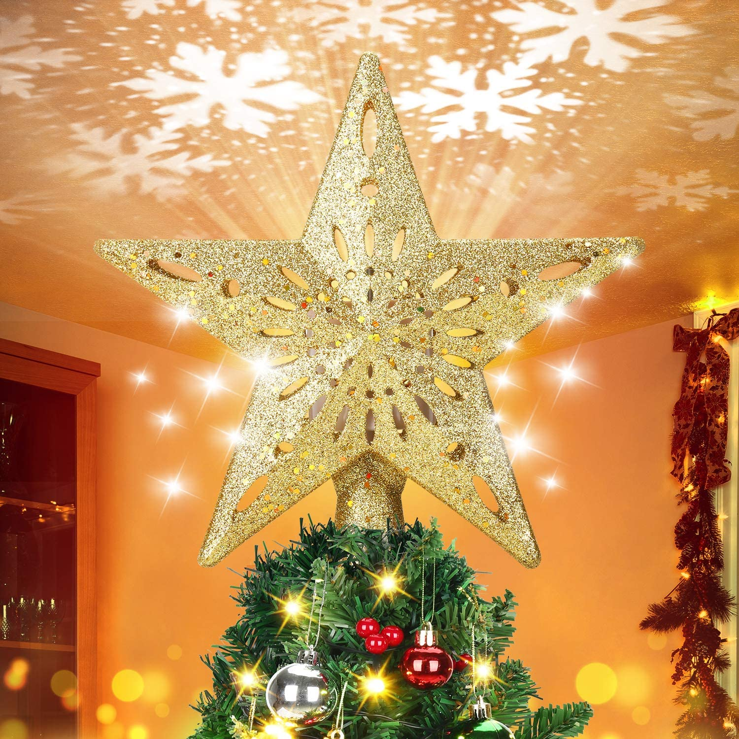ELOVER Christmas Free shipping anywhere in the nation Tree Oklahoma City Mall Topper with Rotating Snowflake LED Project