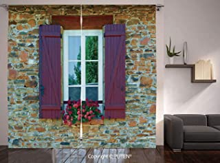 Thermal Insulated Blackout Window Curtain [ Shutters Decor,Image of Modern Brick House with Window Shutters and Flowers Mediterranean Style Decor,Brown Red ] for Living Room Bedroom Dorm Room Classroo