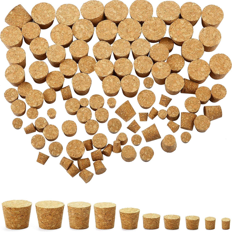 100 Paquetes Tapones de Corcho Cónicos Tapones de Corcho de Madera de Botellas de Vino Corchos de Repuesto para Botella de Cerveza Vino, 10 Tamaños