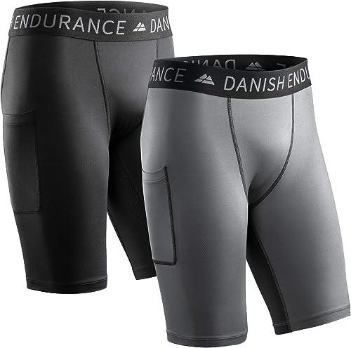 DANISH ENDURANCE Short Base de Compression Homme | avec Poches | Vêtement pour Le Running ou l'Entraînement | Pack de 2