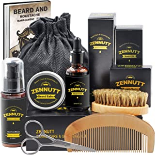 Ultimate Beard Care Kit for Men w/ Free Beard Conditioner & Beard Balm Butter & Beard Oil & 100% Boar Beard Brush & Wood Beard Comb & Beard & Mustache Scissors,Best Gift Set