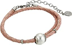 12mm Round Pearl on Double Wrap Leather Bracelet 14-16""