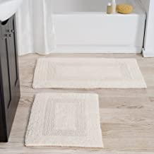 Cotton Bath Mat Set- 2 Piece 100 Percent Cotton Mats- Reversible, Soft, Absorbent and Machine Washable Bathroom Rugs by Lavish Home (Ivory)