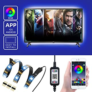 """TV Backlight LED Strip Lights with APP Controlled Metaku 6.5ft Waterproof USB LED Tape Lights Monitor Ambient Lighting Bias Accent Ribbon Lights Kit SMD 5050 Sync to Music Mood Lights for 24""""-60"""" HDTV"""