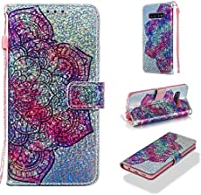Case for Galaxy S10+/S10 Plus,Pu Leather Bling Glitter Wallet Case Inner Soft TPU Bumper Shock Absorbent with Magnetic Closure Card Holder Strap Compatible with Samsung Galaxy S10+/S10 Plus -Flower