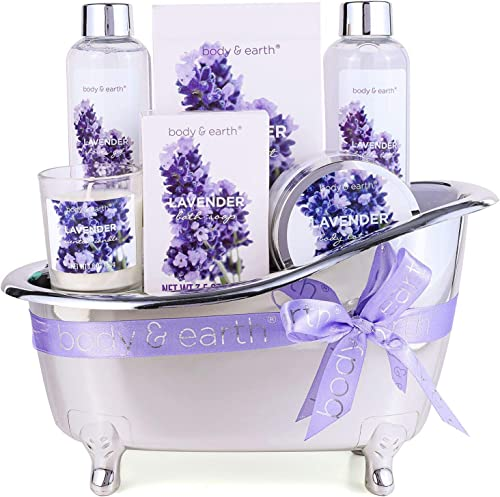 Coffret de Bain pour Femme, Body & Earth 6 Pièces Coffret Cadeau au Parfum de Lavande, avec Bougie Parfumée, Sels de ...