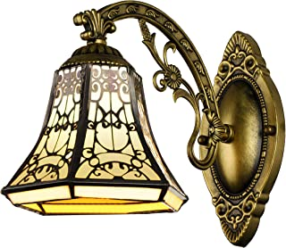 BAYCHEER Tiffany Style Glass Shade Vintage Wall Sconce Lamp Fixture One Light for Kitchen Island Dining Room or Living Room