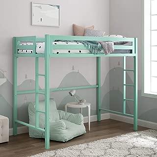 WE Furniture Premium Twin Metal Loft Bed, Mint