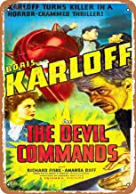 Pakiki 8 x 12 Metal Sign - 1941 The Devil Commands Movie Wall Decor Tin Sings - Vintage Look