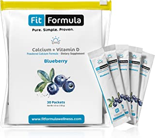 FitFormula Blueberry Flavored Calcium + Vitamin D Powder – Flavored Dietary Supplement – Premium Formulation of Vitamin D and Calcium Powder – High Absorption Formula – 30 Servings – 138g (4.9 oz)