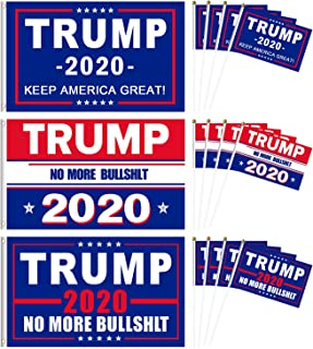 3 Pack Trump 2020 Flag for President Keep America Great Flag (3 x 5 ft) with 12 Pack Small Hand Held Trump Flags Veterans Day 4th of July Decorations