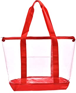 Clear Tote Bag - Top Zipper Closure, Long Shoulder Strap and Attractive Fabric Trimming. Perfect Transparent Travel Tote for All Places and Events Where Clear Bags are Required.