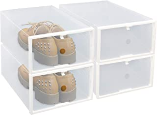 FIXSMITH Clear Plastic Shoe Storage Boxes- Foldable Shoe Containers 4 Pack,Stackable Shoe Cases w/White Frame,Back to School,Transparent Shoe Organizer Boxes for Closet,Shelf,Deck&More,Multi-Purpose.