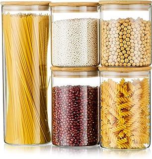 Uppsättning av 5 glasburkar multipack glasburkar med lock lufttäta matförvaringsbehållare för kök förvaring av söta kakor ...