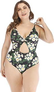 Wellwits Women's Plus Size Twisted Cutout Friuit Daisy One Piece Swimsuit