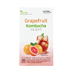 Instant Sparkling Grapefruit Kombucha Mix [ Fermented Tea ] Tangy Powder Drink Powder, Refreshing Mix of Green Tea and Grapefruit, Perfect Summer Beverage from Korea [ JRND Foods ] 30 Pieces
