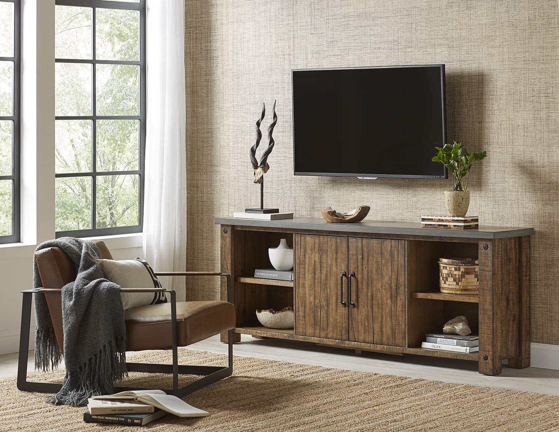 "Martin Furniture IMJA380 80"" TV Console, Brown"