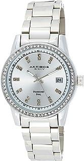 Akribos XXIV Women's Swarovski Watch - Genuine Diamond Hour Markers on Sunburst Dial, Crystal Accented Bezel on Stainless Steel Bracelet Watch - AK928