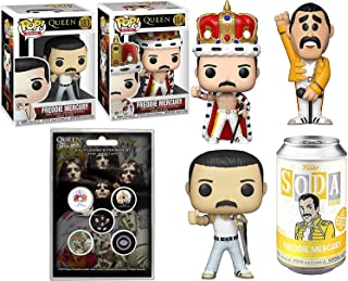 Mecury Figure Freddy in Tin Soda Can Bundled with Queen Star Crown 184 Pop! Vinyl Singer #183 Rocks Classic Album Pin Badg...