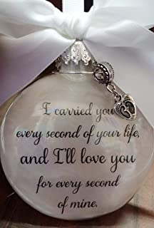 Miscarriage Memorial Ornament - I Carried You Every Second & Footprints Charm - In Memory of Pregnancy Loss