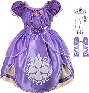 Girls' Princess Sofia The First Dress Up Costume Cosplay Fancy Party Dress Outfit with Accessories