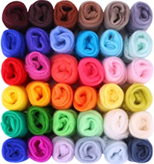 Fuyit Wool Roving 36 Colors 180g Needle Felting Wool Fibre Hand Spinning DIY Craft Materials (36 Color 5g/Color)
