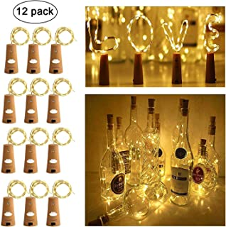 Ecloud Shop Wine Bottle Lights with Cork, Cork Lights for Bottle 6.5ft 20 LED Bottle Lights Battery Powered Christmas String Lights for Party Halloween Wedding (Warm White,Silver Wire,Pack of 12)