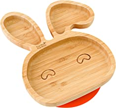 Baby Toddler Bunny Suction Plate, Stay Put Feeding Plate (Orange)