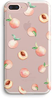 iPhone 7 Plus Case,iPhone 8 Plus Case,Girls Cute Pink Peach Funny Fruits Vacation Series Hipster Aloha Summer Tropical Hawaii Beach Sweet Girly Soft Clear Case for iPhone 7 Plus/iPhone 8 Plus