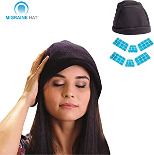 Migraine Hat - Wearable Ice Hat To Reduce Migraine Headache Pain ( Comes With 2 Ice Packs )