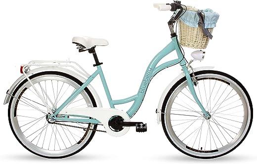Goetze Blueberry Vintage Retro Citybike Damenfahrrad Hollandrad, 3 Gang Shimano Nexus, Tiefeinsteiger, Rücktrittbremse, 26 Zoll Alu Räder, Korb mit…