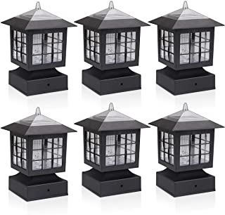 KMC LIGHTING KS101X6 Outdoor Solar Light 6 Pack with 4-Inch Fitter Base for Outdoor Garden Post Pole Mount 4.88X4.88X7.48""
