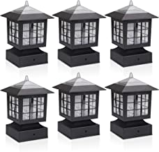 KMC LIGHTING KS101X6 Outdoor Solar Light 6 Pack with 4-Inch Fitter Base for Outdoor Garden Post Pole Mount 4.88X4.88X7.48