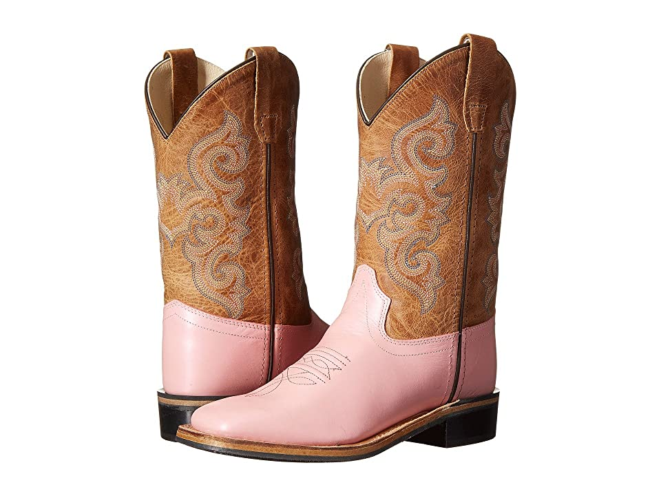 Old West Kids Boots Western Boots (Toddler/Little Kid) (Metallic Pink/Tan Fry) Cowboy Boots