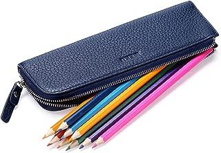 MEKU Genuine Leather Pen Pencil Case Bag Zipper Pouch Pencil Holder 2 Slots Blue