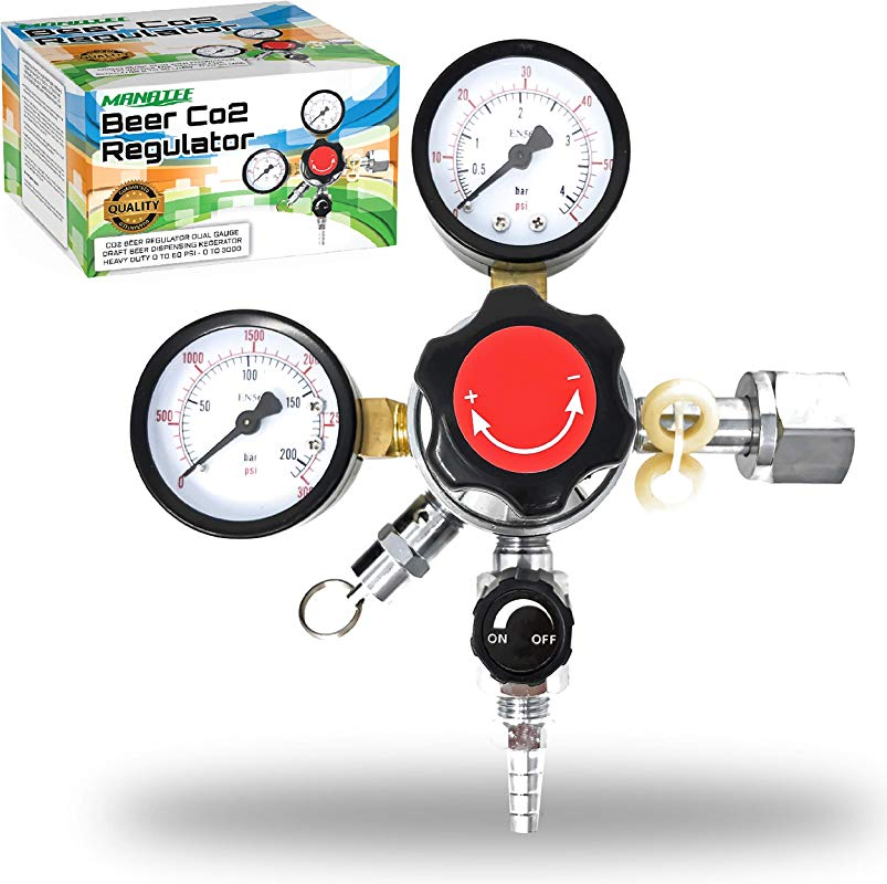 Co2 Beer Regulator Dual Gauge Draft Beer Dispensing Kegerator Heavy Duty 0 To 60 PSI 0 To 3000 Tank Pressure CGA 320 Inlet Connection With 3 8 O D Outlet Barb Features Safety Pressure Relief Valve