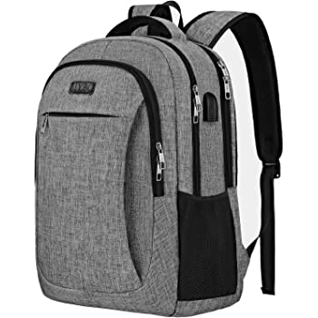 Travel Laptop Backpack,IIYBC Anti Theft Laptop Bag with USB Charging Port and Headphone Interface, Business Backpack for Men Women,College School Computer Bag Fits 15.6 Inch Laptop and Notebook-Grey