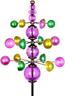 Exhart Colorful Helix Yard Mobile, Three-Tier Vertical Wind Spinners with Purple Glass Crackle Balls Garden Stake - Green,...
